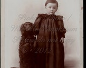 Vintage  digital Photograph, A lad and his pup
