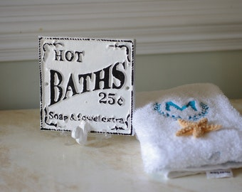 Cast Iron Hot Baths Sign and Towel Hook