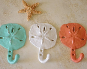 Beach Decor Cast Iron Sanddollar Wall Hook  - PICK YOUR COLOR