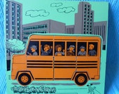 Vintage Wooden School Bus Puzzle 9pc.