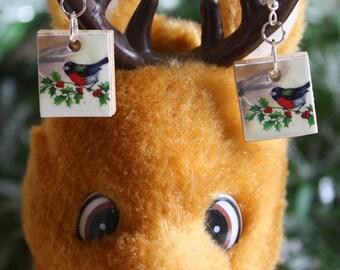Winter Robin Scrabble Earrings