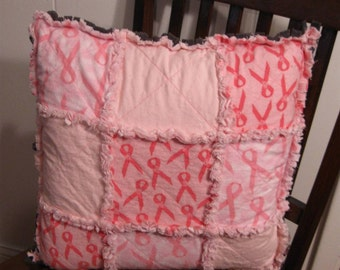 Pink Ribbon Toss Pillow with Gray Back