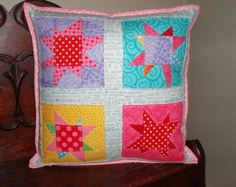 Pillow Cover - Wonky Stars - scrappy fabric