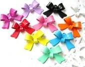 44PCS Colorful ribbon bow shape tiny metal charms pendants Assorted color (17-1-257)