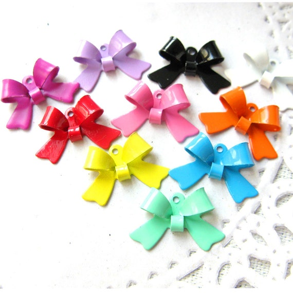 44PCS Colorful ribbon bow shape tiny metal charms pendants Assorted color (17-1-257)
