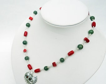 Red Coral and Green Aventurine Necklace, Wire Wrapped Necklace, Owl Pendant, Gemstone Necklace, UK Seller
