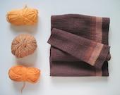 Brown Handwoven Cotton Scarf - Fall Accessory 'Latte Machiatto Choco Truffle' Cotton Scarf