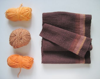 Brown Handwoven Cotton Scarf - Fall Accessory 'Latte Machiatto Choco Truffle' Cotton Scarf