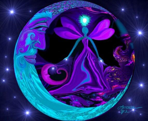 "Moon Stars Fairy Art, Blue Purple Decor, Angel Energy Print ""The Mystic"""