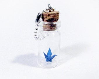 Keychain FOB Blue Origami Crane in Vial ~ Bottle Pendant
