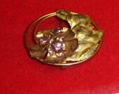 Vintage Large Art Deco Gilt Sterling Silver Circle Rhinestone Flower Pin brooch