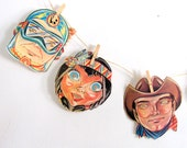 Vintage Halloween Masks 1950s - Originals - Set of 5 - Cardboard - Mid Century Party Masks