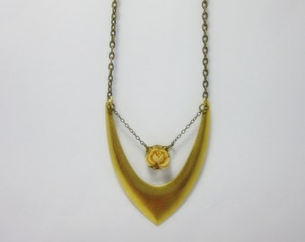 Brass Geometric pendant with cream rose Necklace.