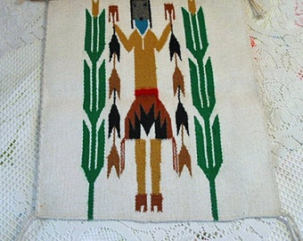 NATIVE AMERICAN WEAVING Corn Maize Yei Dancer, Hand Loomed Wool Hand Dyed Green Gold Sienna Colors, Original Sw Keepsake Wall Decor Hanging