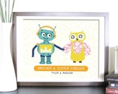 Robots Prints for Playroom,  Robot and Owl, 11X14, Other Sizes, Brother and Sister, Nursery artwork, Birthday gift, Baby Gift