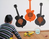 Chevron Guitar Wall Decal, Rockstar Chevron Guitars, Nursery Artwork, Play Room Decor for kids