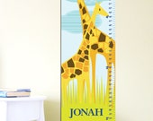 "Giraffe Growth Chart, Giraffe, 13"" X42"" Inches, Nursery deco, height Chart, Canvas chart"