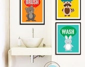 Bathroom Art for kids, Set of 3,  Bathroom Creatures, 8X10 Inches, Animals, Typography, Wall Art, Holiday Gift