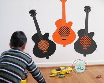 Chevron Guitar Wall Decal, Rockstar Chevron Guitars, Nursery Artwork, Play Room Decor for kids
