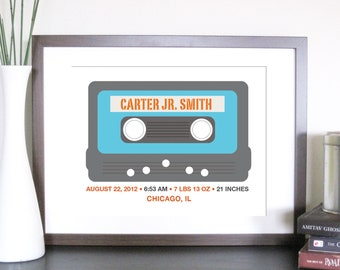 Baby Birth Announcement Print, Art for Kids, Mixed Tape, 8X10, Other sizes available,Baby Gift, Nursery art, New baby