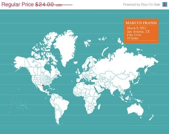 World Map Print, Place and World -12X16 Inches, Choose your pattern. Birthday Gift, Baby Gift, Travel Art