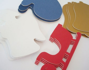16 Piece Christmas Cutouts Recycled Mat Board Scrapbooking Card Making Gift Tags Crafts