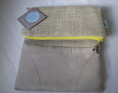 Grey Lined Fold-Over Clutch with Bright Yellow Contrasting Zipper andOwl  Charm
