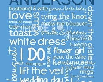 Personalized Wedding Subway Art Print