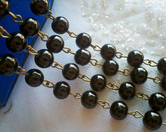 36 Inches   Rosary Chain of Jet Black 8 mm  Smooth Round  Glass Beads and Brass  Loops. Handmade Jewelry Supply