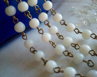 "36"" Opaque White 6 mm  Smooth Round  Glass Beaded Rosary Brass Chain Links,  Handmade Jewelry Supply"
