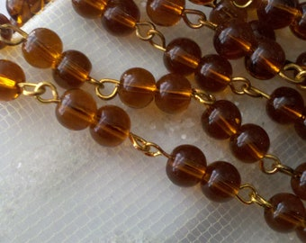 36 Inches of  6mm Amber  Smooth Round Glass Beaded Rosary Chain with  Gold  Loop Links, AMGD