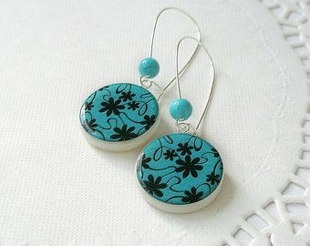 Vector Flower Pattern, Turquoise and Black Polymer Clay Earring With Turquoise Beads