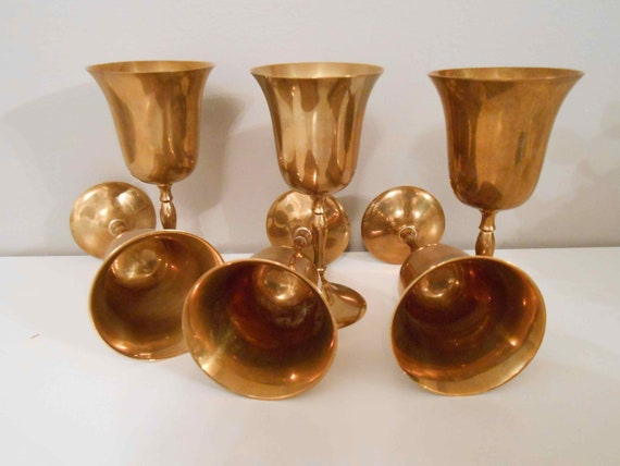 Sale 6 Brass Wine Glasses Goblets
