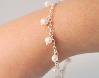 White Freshwater Pearl Bracelet Dangles Child Children Flower Girl Wire Wrapped Sterling Silver Jewelry June Birthstone
