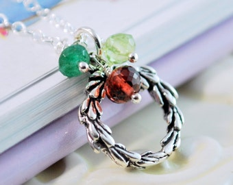 Holiday Necklace, Sterling Silver Wreath, Genuine Red Garnet, Green Onyx, Peridot, Gemstones, Child Children Girl, Christmas Jewelry