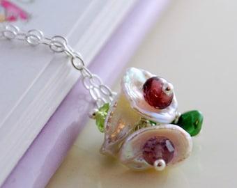 Family Necklace Child Children Flower Girl Keishi Keshi Freshwater Pearl Blossom Genuine Gemstone Custom Sterling Silver Jewelry