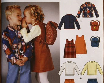 Simplicity 5284 Children's Pants, Jacket, Jumper, Knit Top Shirt and Backpack Sewing Pattern