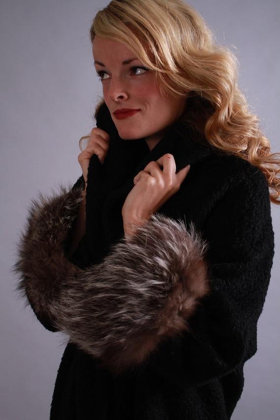 1960s wool coat / 60s designer lilli ann fox fur winter jacket / To Warm Your Winter Heart