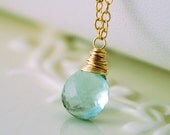 Fluorite Gemstone Necklace Simple Gold Jewelry Wire Wrapped AAA Solitaire Aqua Blue Green Semiprecious Stone