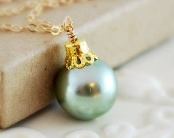 Mint Green Christmas Necklace, Glass Pearl, Fun, Wire Wrapped, Sterling Silver or Gold Holiday Jewelry, Free Shipping