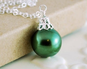 Forest Green Holiday Jewelry, Sterling Silver, Christmas Ball Necklace, Glass Pearl, Wire Wrapped, Free Shipping