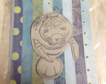 Handmade Manatee Card Blank- One Card