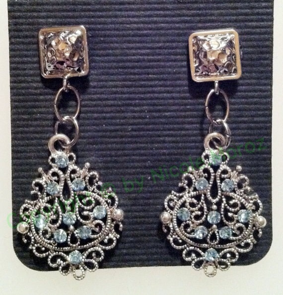 Silver Filigree with Light Sapphire Blue Swarovski Earrings