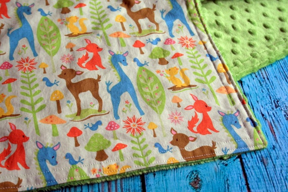 Minky Baby Blanket - Woodland Tails Deer in Green and Your Choice of Minky Color - Personalization Options Available - Made to Order