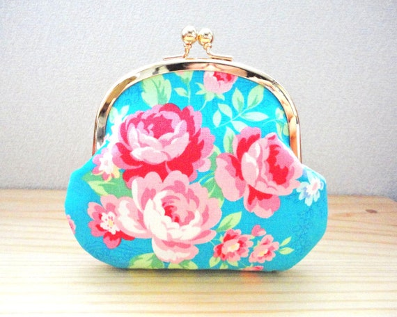 Turquoise floral clutch clasp purse with Roses