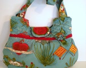 Teal Frida Kahlo Fabric Bag with Quilting and Flower