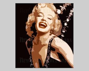 Marilyn Monroe Abstract Pattern, Marilyn Monroe, Cross Stitch Pattern, Monroe Cross Stitch, Abstract Pattern from NewYorkNeedleworks on Etsy