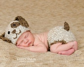 Newborn Baby Boy Puppy Hat and Diaper Cover Photo Prop Set - Beige and Brown