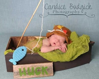 Newborn Fishing Hat Gone Fishing Baby Boy Photo Prop Hat and Blue Fish Set