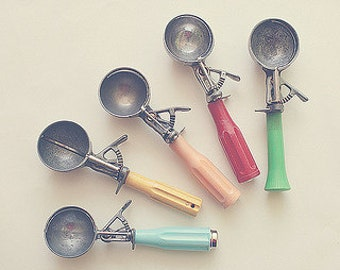 """Kitchen Photography  - Vintage Ice Cream Scoopers - Colorful and Dreamy - Kitchen Home Decor - """"Nostalgia"""""""
